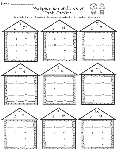 Fact families worksheets multiplication and division