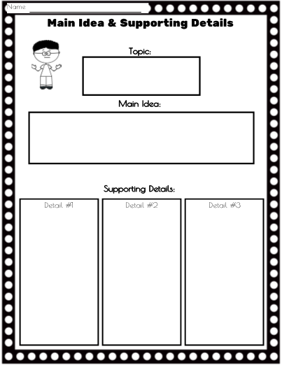 picture relating to Main Idea Graphic Organizer Printable named Key Concept Facts Image Organizer