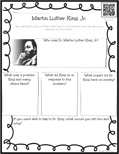 Martin Luther King Comprehension With Qr Code Printable