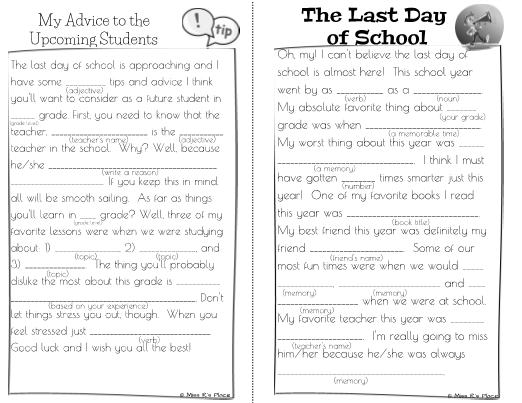 End Of Year Mad Libs For Kids Writing Activity