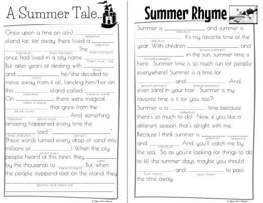 picture relating to Summer Mad Libs Printable named Outrageous Libs for Little ones Summer time Enjoyable