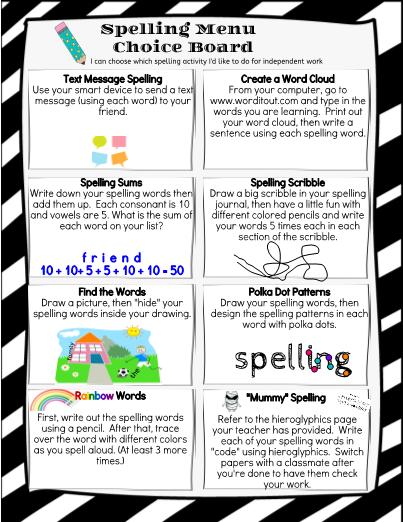 Menu choice board spelling menu choice board pronofoot35fo Choice Image