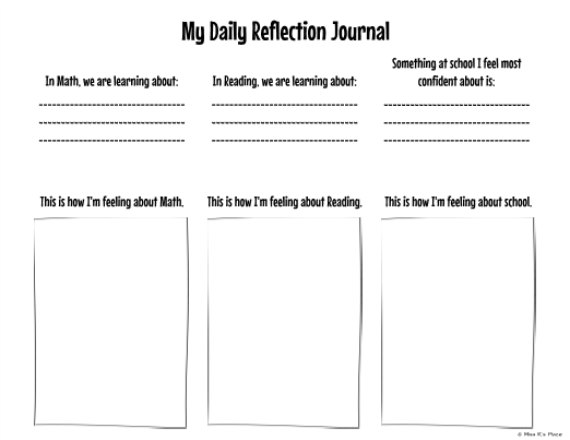 teacher diary template - my daily reflection journal self reflection for students