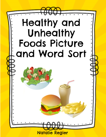 Healthy And Unhealthy Foods Picture And Word Sort