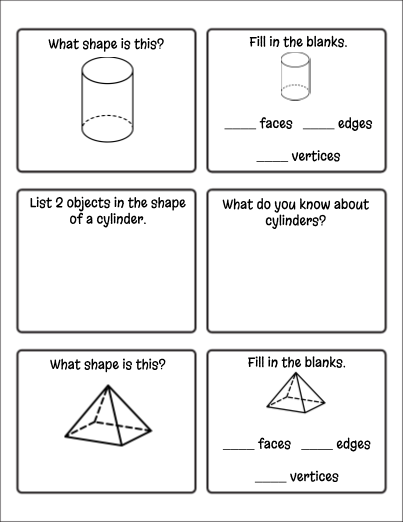 2-D and 3-D Shapes Exit Cards