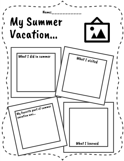 Summer Vacation Worksheet Photo Album - Asteknikyapi