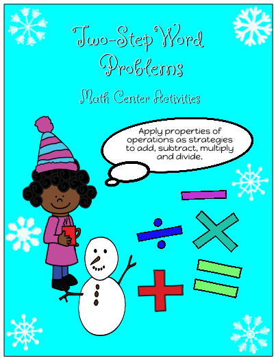 Two-Step Word Problems for Math Centers Christmas Edition
