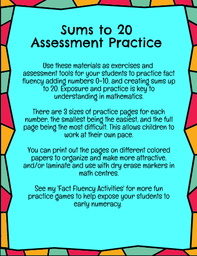 First Grade Fact Fluency Sums to 20 Assessment Practice