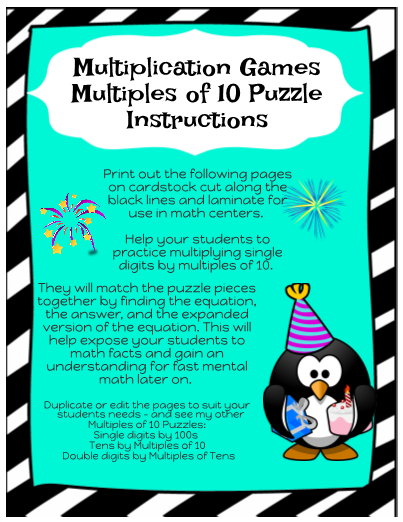 Multiplication Games - Multiples of 10 Puzzles #1