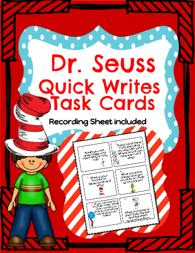 Dr. Seuss Quick Writes Task Cards!