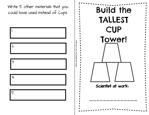 back to school science stem  build the tallest cup tower