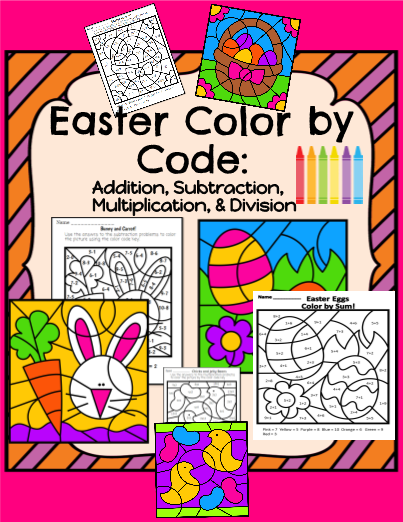 easter color code addition subtraction multiplication and division - Color Code Book
