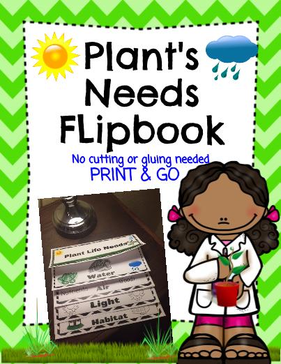 Plants Needs Flip Book Print and Go!