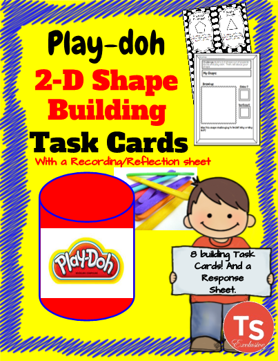 2-D Figures Play-doh Building Challenge Task Cards